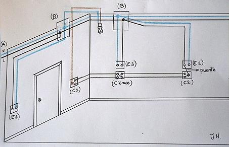 Esquema del circuito eléctrico de un dormitorio de matrimonio